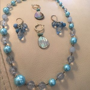 Accessories - Blue Pearl Necklace and Earrings Set